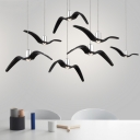 Black Seagull Suspended Lamp Contemporary Resin 3 Light LED Hanging Lamp for Children Room