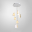 Shell Shade Hanging Lamp Nordic Modern Ceramic 6 Light Decorative Pendant Light in White
