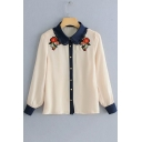 Apricot Long Sleeve Lapel Collar Floral Printed Button Down Shirt