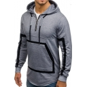 Stylish Contrast Rubberized Trim Half-Zip Curved Hem Fitted Grey Sports Hoodie