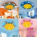 Multicolored Sun Flush Mount Decorative Plastic Multi Lights Lighting Fixture for Nursing Room