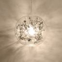 Silver Flower Pendant Light with Globe Glass Shade Modern Fashion 1 Head Suspension Light