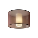 Cylindrical Shade Chandelier Light Contemporary Fabric 4 Lights Lighting Fixture