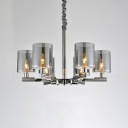 Smoke Glass Cylinder Suspended Lamp Post Modern 6 Lights LED Hanging Chandelier