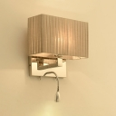 Rectangle Sconce Light Modern Single Head Wall Light with Gathered Fabric Shade in Chrome