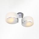 Acrylic Round Semi Flush Chandelier Modernism 2 Light Ceiling Light in White for Bedroom