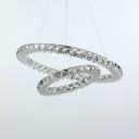 Modernism Tiered Ring Chandelier Crystal Suspension Light for Coffee Shop Restaurant