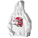 Popular Japanese Style Ukiyo-e Fish Printed Long Sleeve Loose Casual Pullover Hoodie for Juniors
