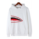 Boys Cool Shark Mouth Printed Long Sleeve Loose Fit Pullover Hoodie