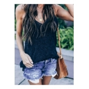 Loose Leisure Sleeveless V-Neck Simple Plain Knit Tank Top for Women