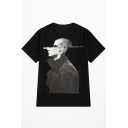 Awesome Cool Abstract Figure Printed Men's Black Cotton T-Shirt