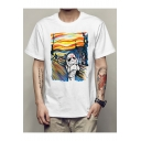 Men's Cool Van Gogh Oil Painting Star Wars Printed Crew Neck Short Sleeve White T-Shirt