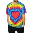 Men's Trendy Colorful Fire Tie Dye Heart Printed Round Neck Casual T-Shirt