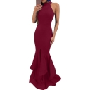 Women's New Trendy Simple Plain Halterneck Zip Back Ruffle Hem Floor Length Bodycon Dress