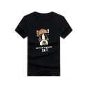 Cute Cartoon Puppy Letter LET'S BE FRIENDS Printed Round Neck Short Sleeve Cotton T-Shirt