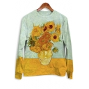 Basic Crewneck Long Sleeve Van Gogh Sunflower Printed Casual Loose Yellow Sweatshirt