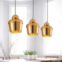 Golden Bell Shape Lighting Fixture Post Modern Iron 1 Head Suspended Lamp for Foyer