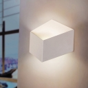 Geometric Wall Light Modernism Metal Single Light Wall Sconce in White for Corridor Hallway
