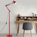 Metal Swing Arm Floor Light Simplicity Single Light Floor Lamp in Red/Yellow for Bedside