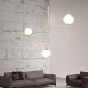 Post Modern Orb Pendant Light Opal Glass Triple Lights Hanging Light in Brass Finish