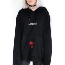 Fashion Floral Print Pocket Letter LOVE WILL TEAR US APART Pattern Black Oversized Hoodie