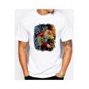 Men's Fashion Oil Painting Lion Print Short Sleeve White Casual T-Shirt