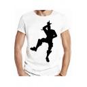 Men's Funny Game Figure Print White Short Sleeve T-Shirt