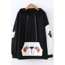 Lovely Colorblock Cartoon Cat Printed Loose Leisure Long Sleeve Drawstring Hoodie