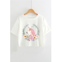 Round Neck Short Sleeve Fashion Floral Unicorn Printed Loose Fit Cropped White T-Shirt