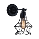 Vintage Metal Caged Wall Lighting Single Light Decorative Wall Mount Fixture in Black for Hallway