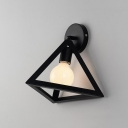 1 Bulb Triangle Sconce Light with Metal Frame Modern Fashion Wall Mount Light in Black for Bedside