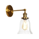Clear Glass Bell Wall Sconce Simplicity 1 Light Small Wall Mount Light in Brass Finish