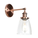 1 Bulb Armed Wall Mount Light Vintage Simple Clear Glass Shade Wall Light in Copper Finish