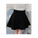 Girls Black High-Rise Simple Plain Mini A-Line Pleated Skirt