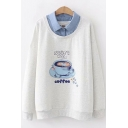 Cartoon START WITH COFFEE Letter Cup Print Denim Patched Lapel Collar Long Sleeve Sweatshirt
