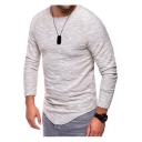 Men's Slim Fit Fashion Asymmetrical Hem Long Sleeve Plain T-Shirt
