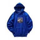Trendy Astronaut Pattern Loose Casual Warm Thick Pullover Hoodie