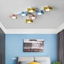 Multi Color Star Ceiling Fixture Modern Design Metal 7 Lights LED Flush Mount for Kindergarten
