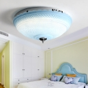 Bowl LED Flush Mount Light with Blue/Pink Prismatic Glass Shade Modernism Indoor Ceiling Lamp