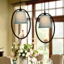 Halo Ring 2 Heads Hanging Light with Blue Fabric Shade Suspended Light for Sitting Room