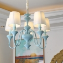 3/5 Lights Curved Arm Hanging Lamp with Fabric Shade American Retro Chandelier Light in Blue