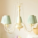 Conical Suspension Light with Gathered Fabric Lampshade Vintage 5 Lights Hanging Lamp in Beige