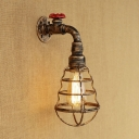 Retro Style Wire Guard Wall Light Wrought Iron 1 Light Wall Mount Fixture in Aged Bronze