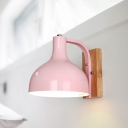 Blue/Pink Dome Wall Lamp with Rectangle Wooden Base Modernism 1 Light Wall Sconce
