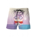Lovely Cartoon Cat Letter EVERYTHING WILL BE OK Print Drawstring Waist Men's Summer Swim Trunks