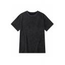 Summer Retro Distressed Plain Short Sleeve Loose Casual Streetwear Black T-Shirt