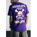Street Style Cool Skull Letter ABSOLUTE PRINCIPLE Printed Loose Casual Cotton T-Shirt