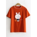 Girls Lovely Cartoon Rabbit Letter I LOVE U Print Basic Short Sleeve Cotton T-Shirt