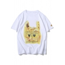 Cartoon Letter THANK YOU Polybag Print Cool Loose Fitted Cotton Unisex T-Shirt