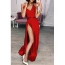 Hot Sale Straps V Neck Split Front Sexy Maxi Plain A-Line Dress